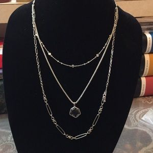 Vanessa Silver Multi Strand Necklace In Charcoal